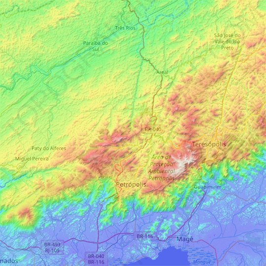 Petrópolis topographic map, relief map, elevations map