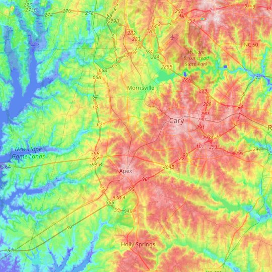 Cary topographic map, relief map, elevations map