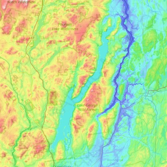 Lake George topographic map, elevation, relief