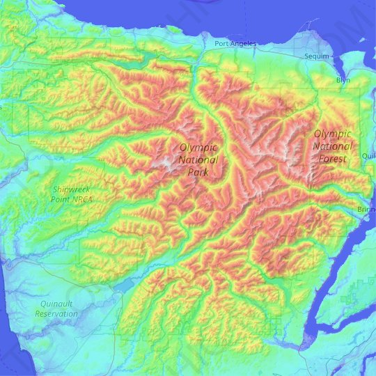 Olympic National Forest topographic map, relief map, elevations map