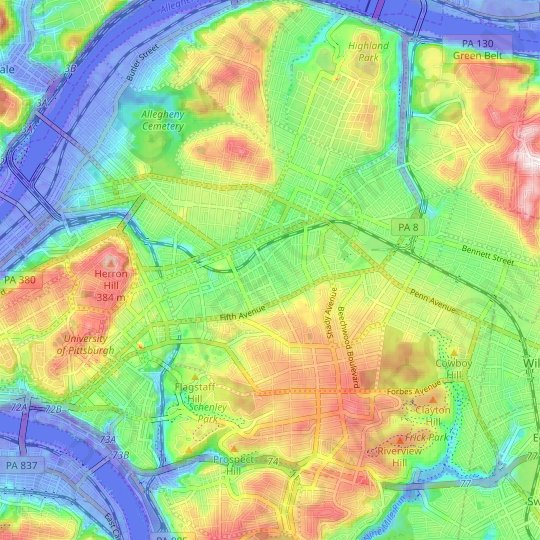 Shadyside topographic map, relief map, elevations map