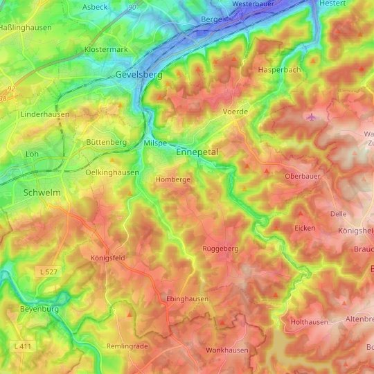 Ennepetal topographic map, relief map, elevations map