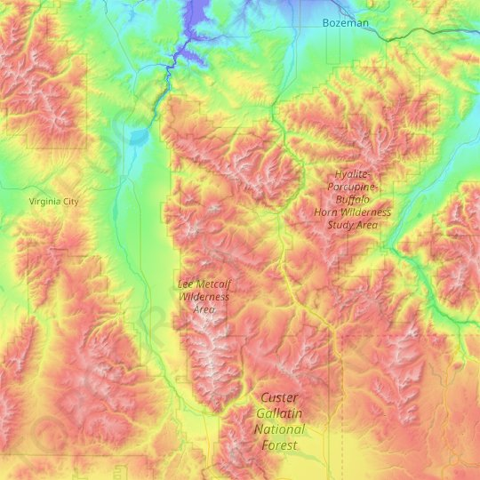 Lee Metcalf Wilderness Area topographic map, relief map, elevations map