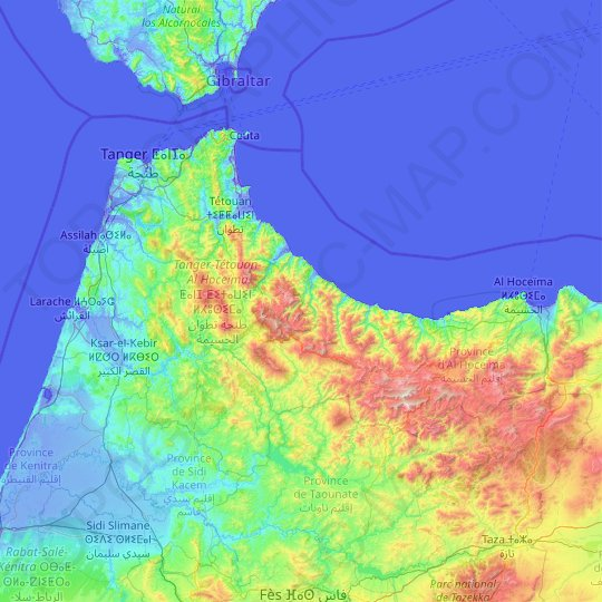 Tangier-Tetouan-Al Hoceima topographic map, relief map, elevations map