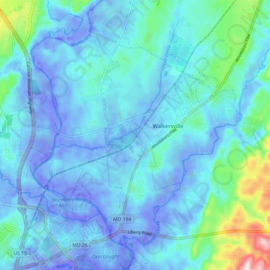 Walkersville topographic map, relief map, elevations map