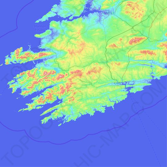 County Cork topographic map, relief map, elevations map