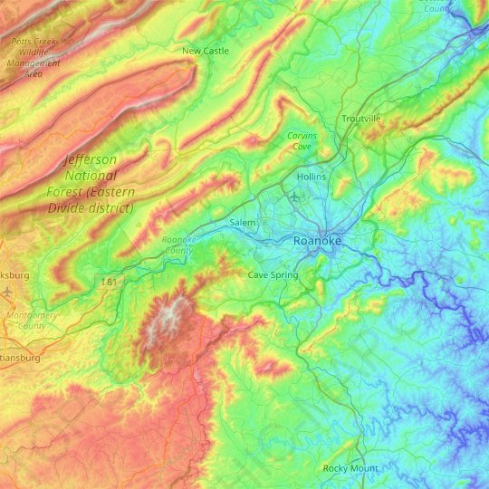 Roanoke County topographic map, elevation, relief