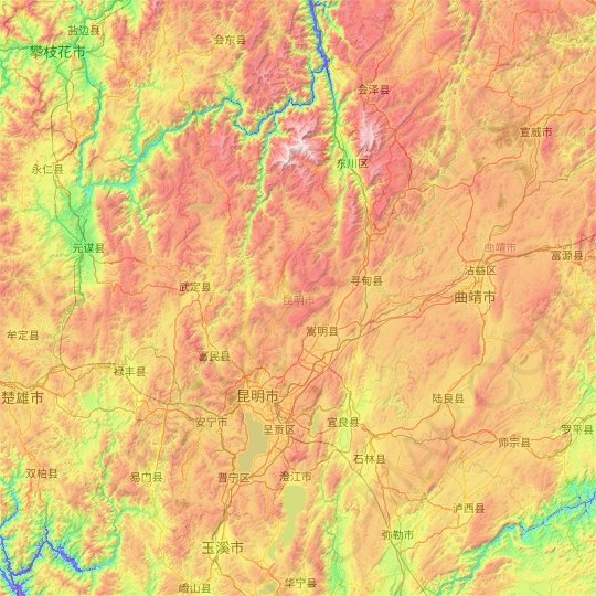 Kunming topographic map, relief map, elevations map