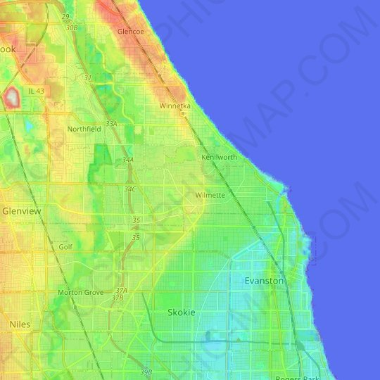 Wilmette topographic map, relief map, elevations map