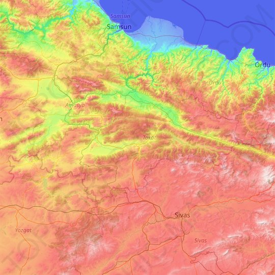 Tokat topographic map, relief map, elevations map