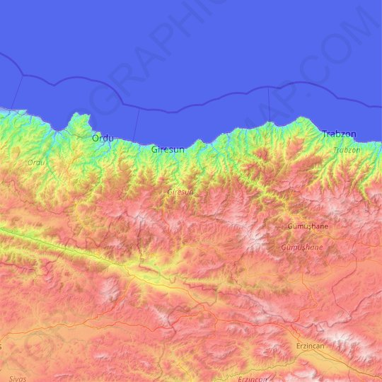 Giresun topographic map, relief map, elevations map