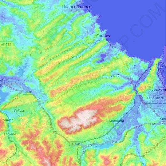 Carreño topographic map, elevation, relief