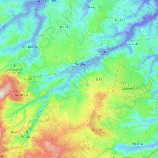 Souvigny topographic map, relief map, elevations map