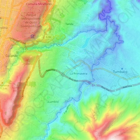 Cumbaya topographic map, relief map, elevations map