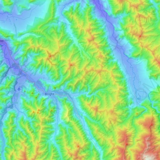 Bright topographic map, relief map, elevations map