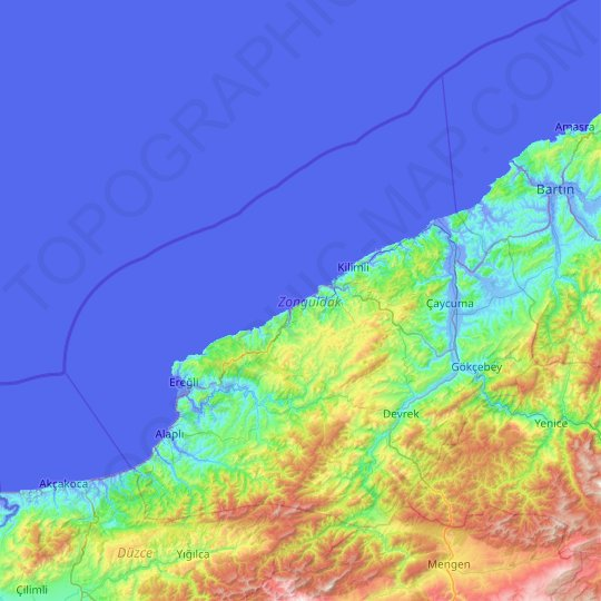Zonguldak topographic map, relief map, elevations map