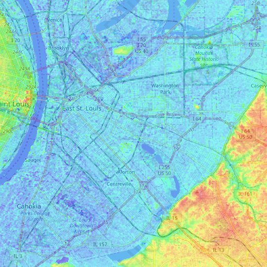 East St. Louis topographic map, relief map, elevations map