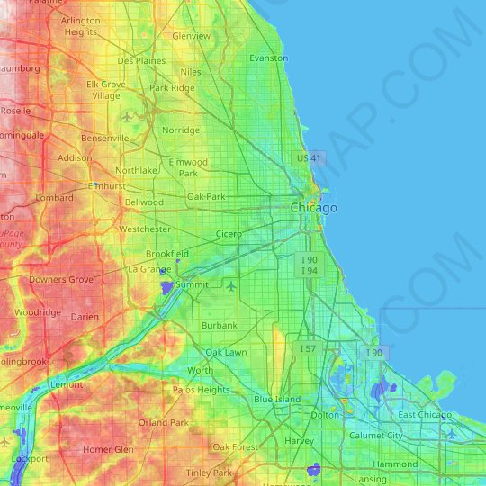Chicago topographic map, relief map, elevations map
