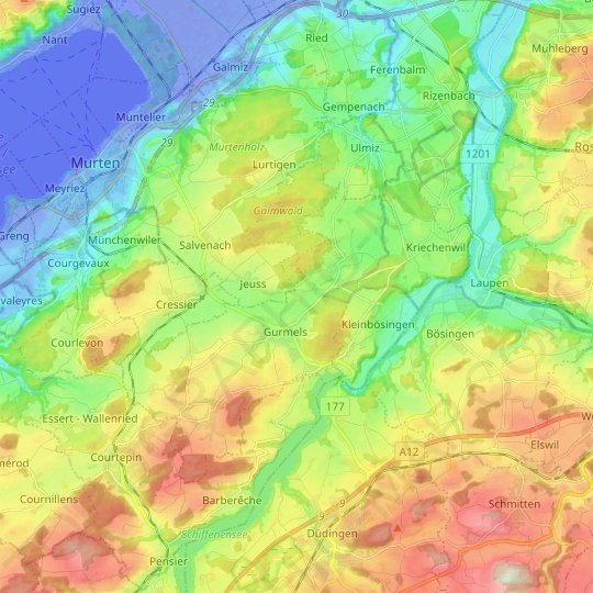 Gurmels topographic map, relief map, elevations map