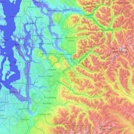 King County topographic map, elevation, relief