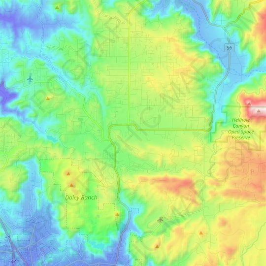 Valley Center topographic map, elevation, relief