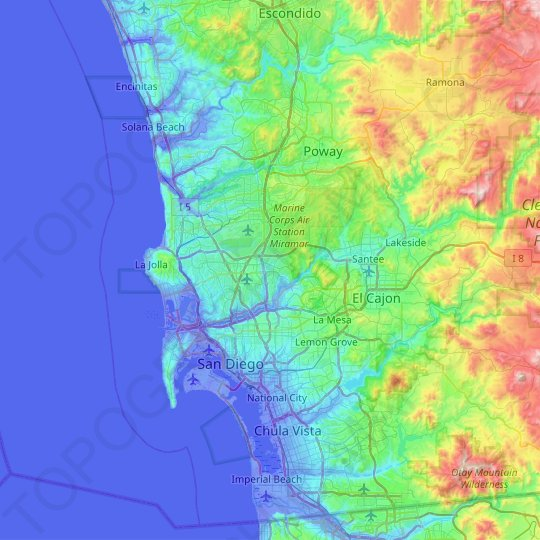 San Diego Topographic Map Elevation Relief