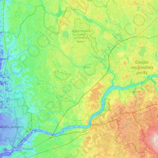 Krimuldas novads topographic map, relief, elevation