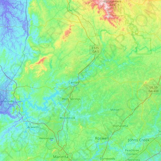 Cherokee County topographic map, relief map, elevations map