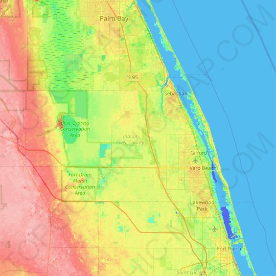 Indian River County topographic map, elevation, relief
