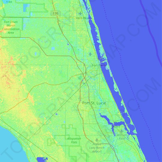 St. Lucie County topographic map, elevation, relief