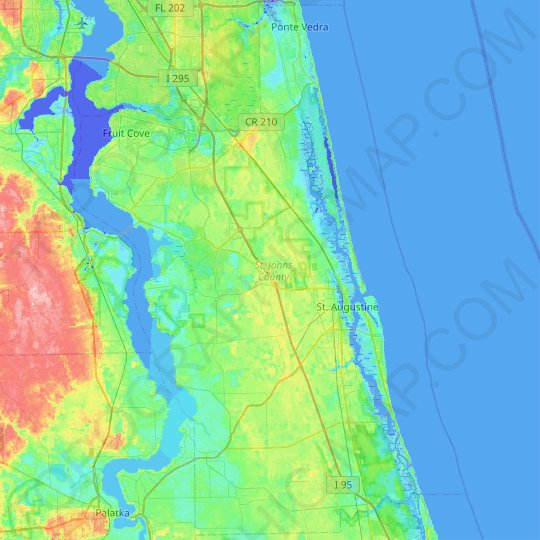 St. Johns County topographic map, relief map, elevations map