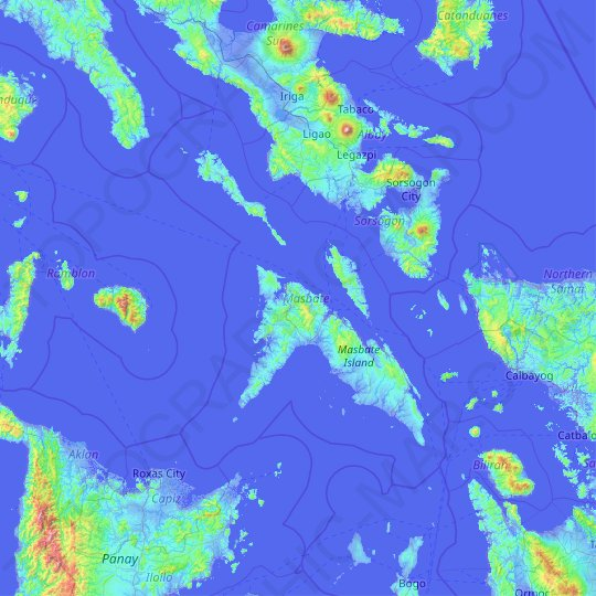 Masbate topographic map, relief map, elevations map