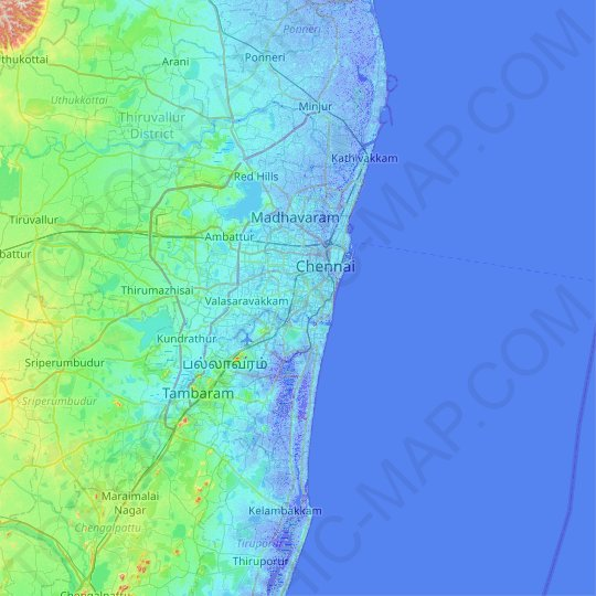 Chennai topographic map, relief map, elevations map