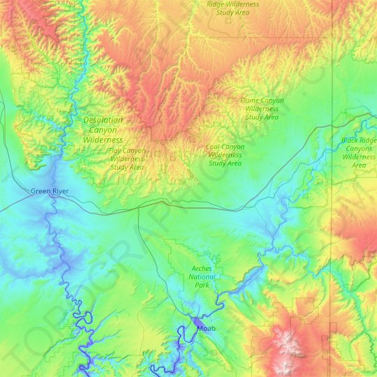 Grand County topographic map, elevation, relief