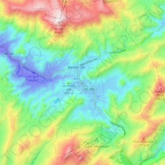 Banner Elk topographic map, elevation, relief