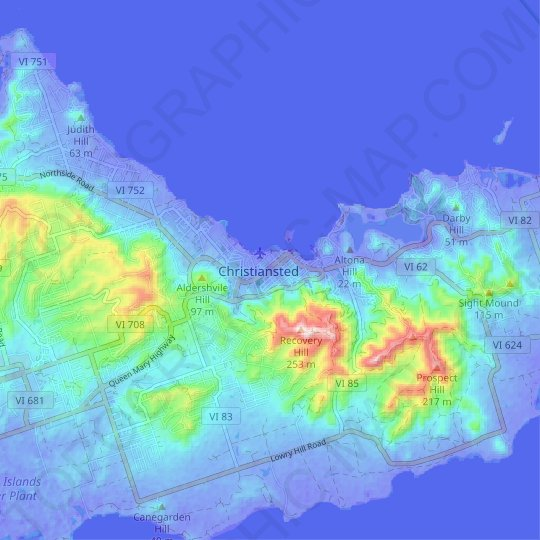 Christiansted topographic map, relief map, elevations map