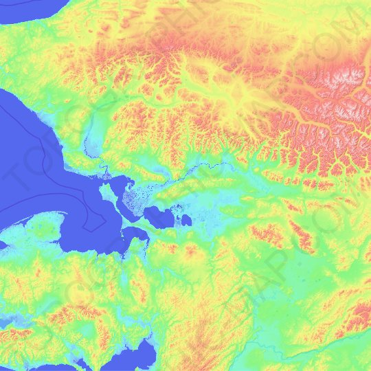Northwest Arctic topographic map, relief map, elevations map