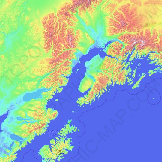 Kenai Peninsula topographic map, elevation, relief