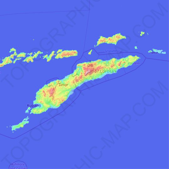 Timor topographic map, relief map, elevations map