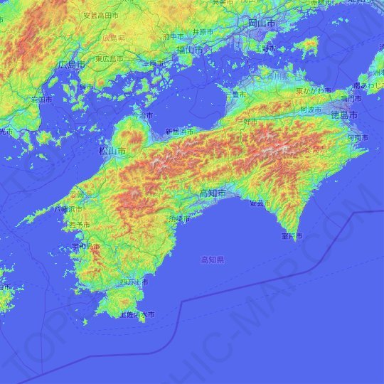Shikoku topographic map, relief map, elevations map
