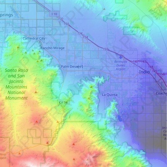 Palm Desert topographic map, elevation, relief