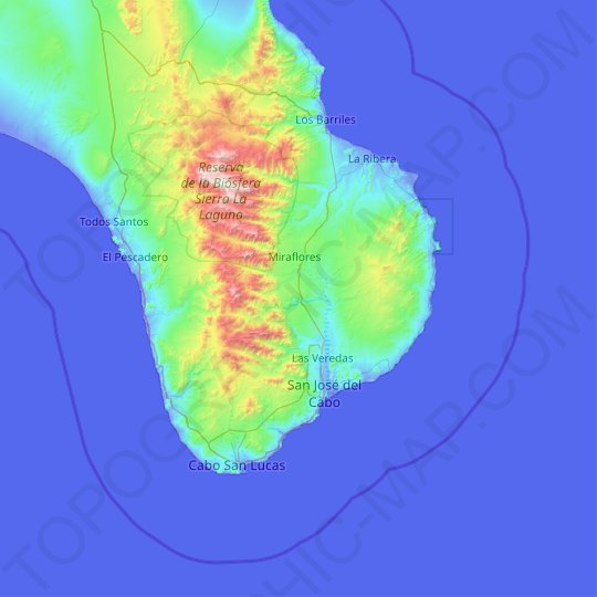 Los Cabos topographic map, relief, elevation
