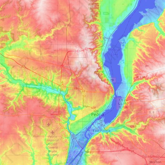 Peoria topographic map, relief map, elevations map