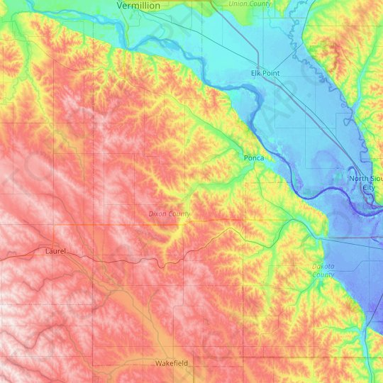 Dixon County topographic map, elevation, relief