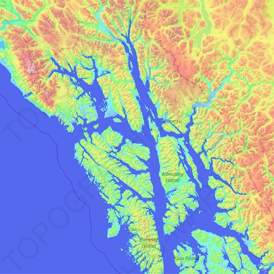 Hoonah-Angoon topographic map, relief map, elevations map