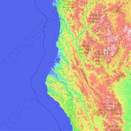 Humboldt County topographic map, relief, elevation