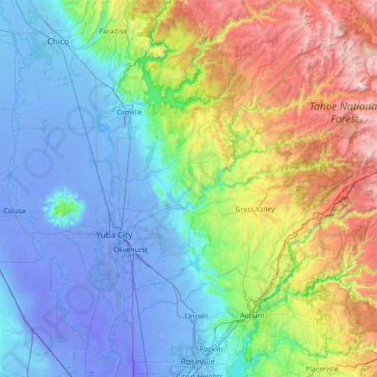 Yuba County topographic map, elevation, relief