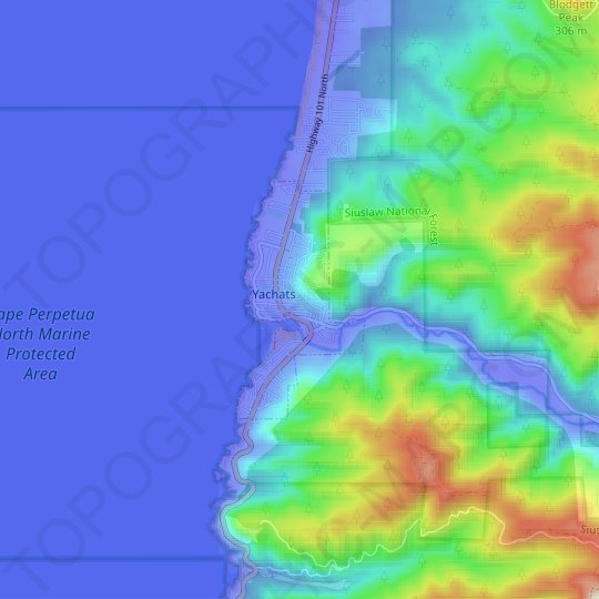 Yachats topographic map, elevation, relief