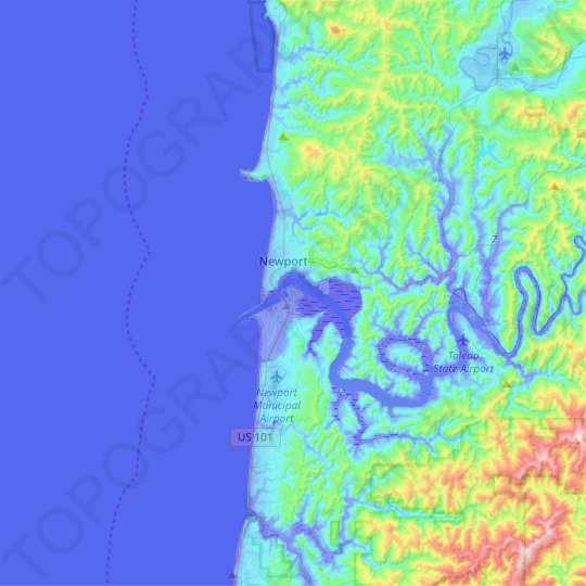 Newport topographic map, relief map, elevations map