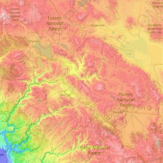 Plumas County topographic map, elevation, relief